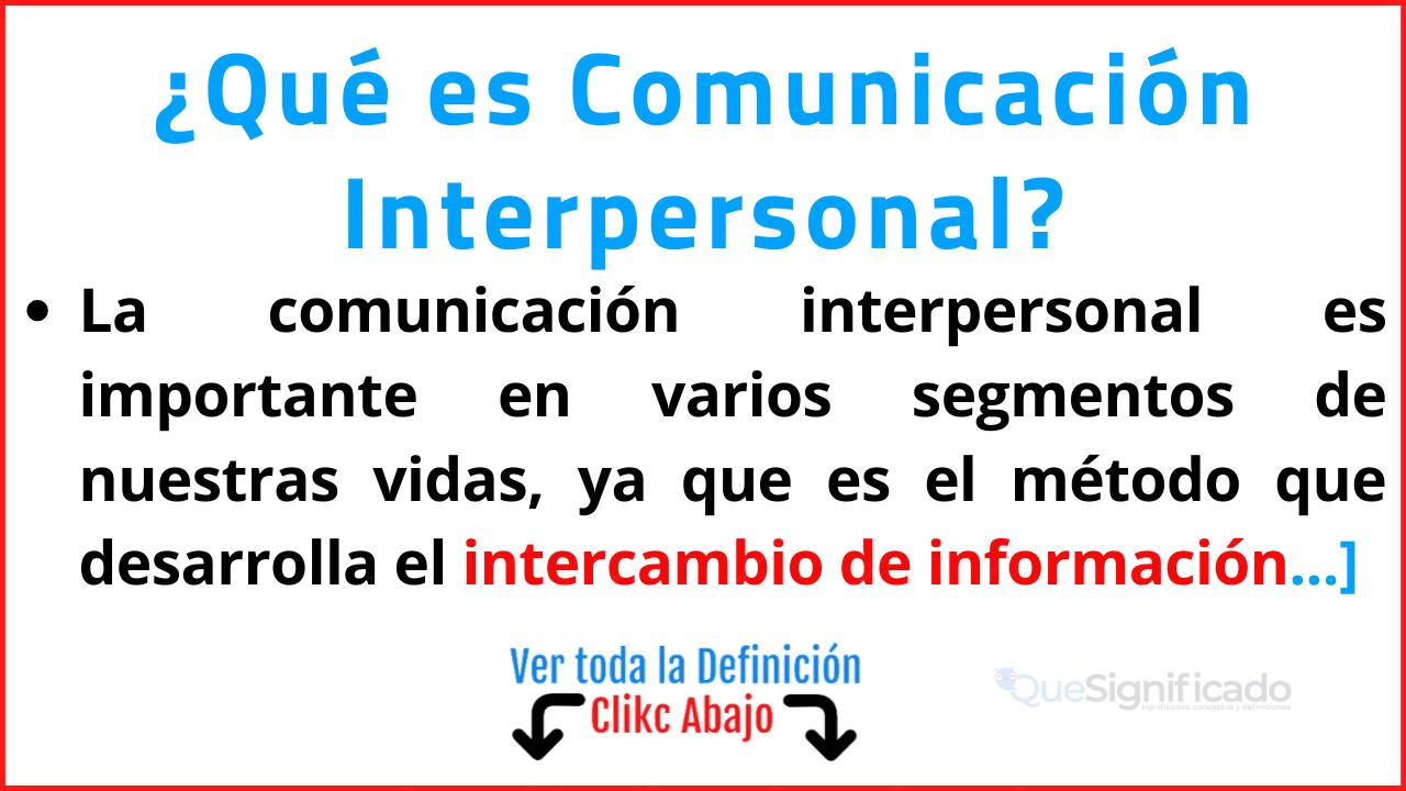 que es comunicación interpersonal