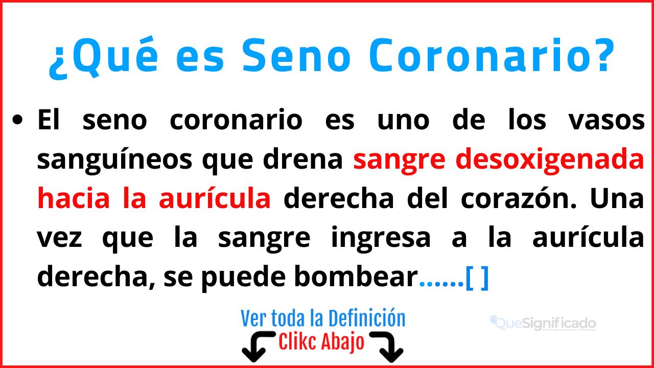 Qué es Seno Coronario