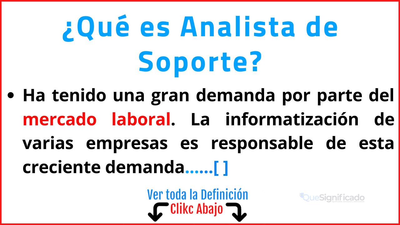 Qué es Analista de Soporte