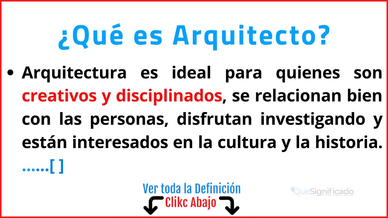 Qué es Arquitecto