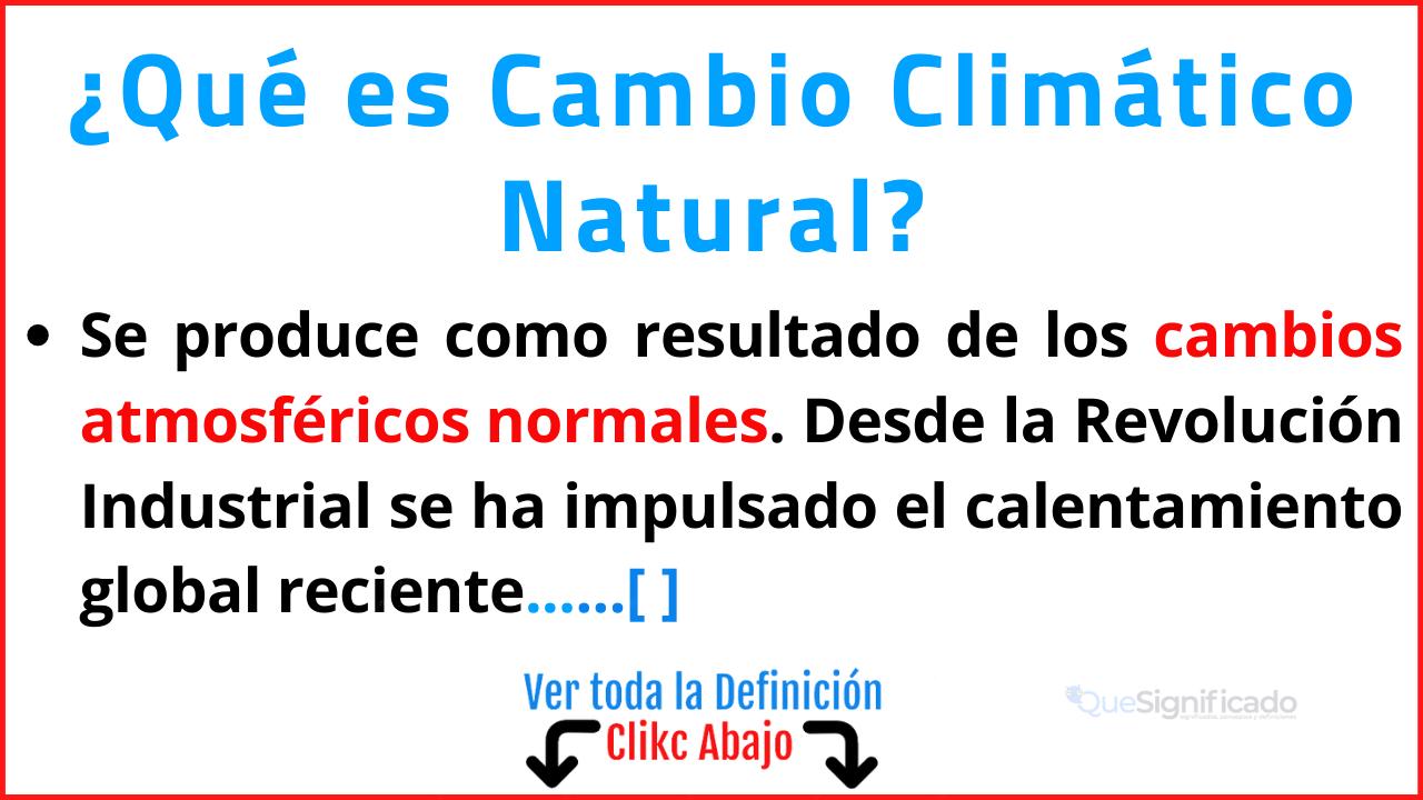 Qué es Cambio Climático Natural