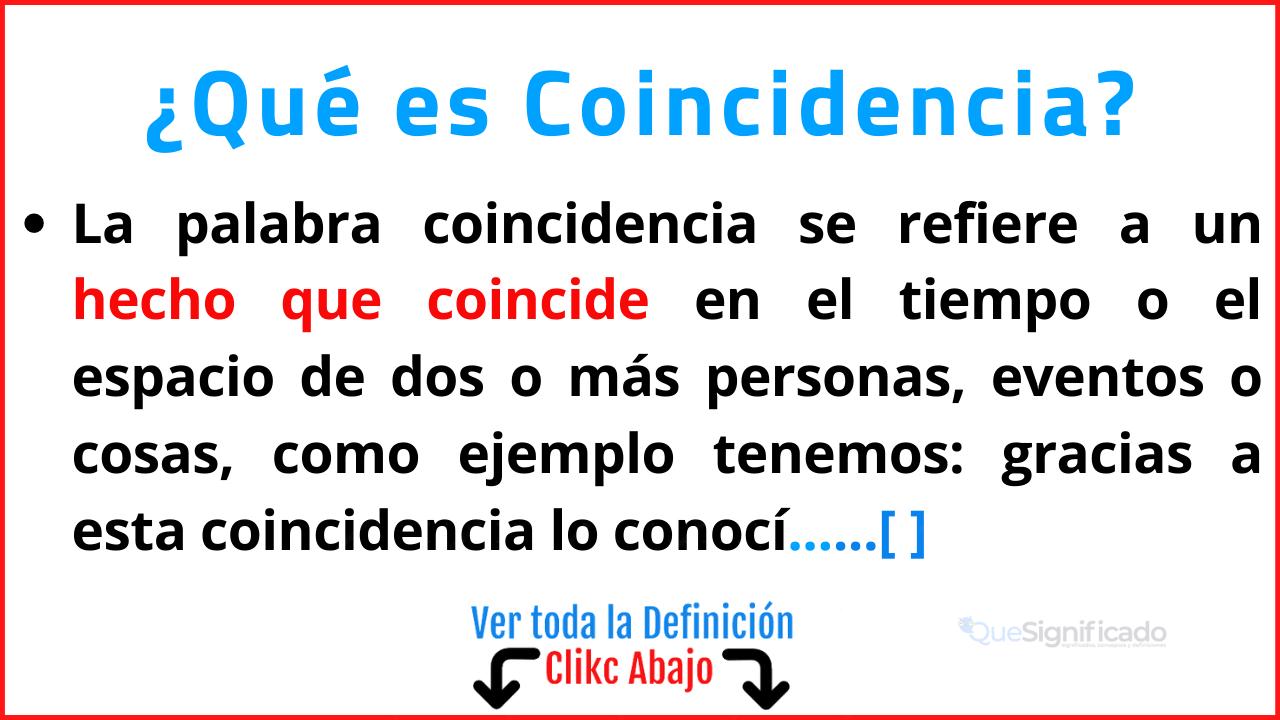 Qué es Coincidencia